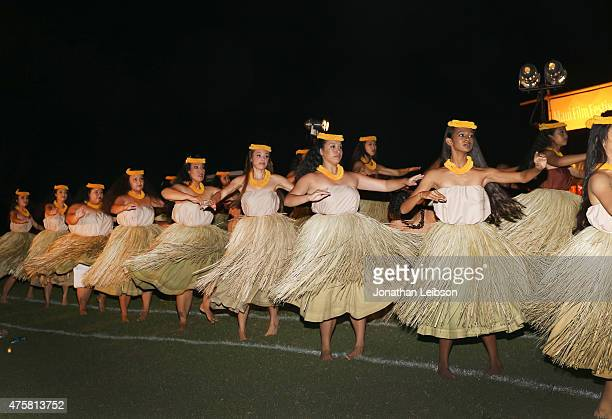 Hula dancers perform at the 2015 Maui Film Festival Rising Star Award Presentation during the 2015 Maui Film Festival at Celestial Cinema on June 3...
