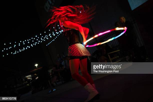 Hula Hooper Anna Pineapple Bloomer of DC performs for the crowd The sold out Annual Circus of the Night was held on August 5 2017 of the rooftop of...