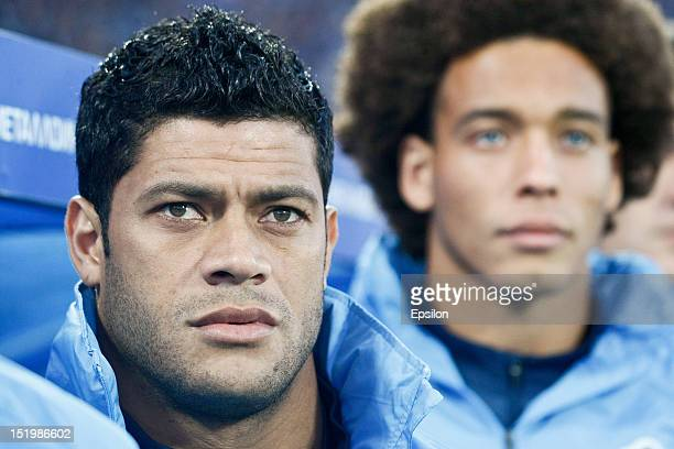 Hulk and Axel Witsel of FC Zenit St Petersburg look on during the Russian Premier League match between FC Zenit St Petersburg and FC Terek Grozny at...
