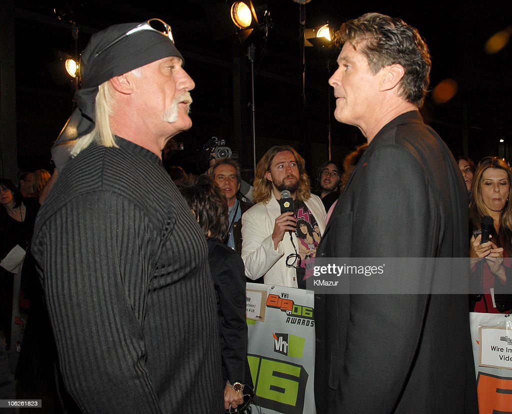 <a gi-track='captionPersonalityLinkClicked' href=/galleries/search?phrase=Hulk+Hogan&family=editorial&specificpeople=209432 ng-click='$event.stopPropagation()'>Hulk Hogan</a> and David Hasselhoff during VH1 Big in '06 - Red Carpet at Sony Studios in Culver City, California, United States.