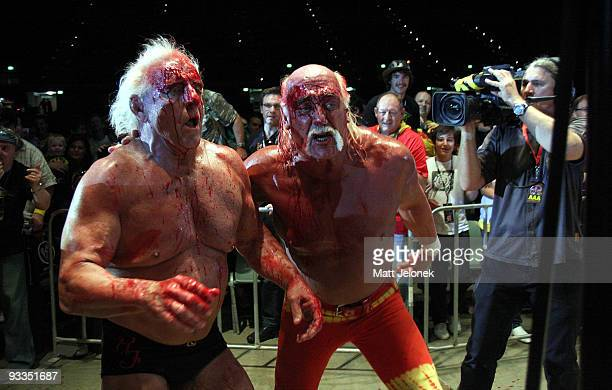 Hulk Hogan and Ric Flair in action during his Hulkamania Tour at the Burswood Dome on November 24 2009 in Perth Australia