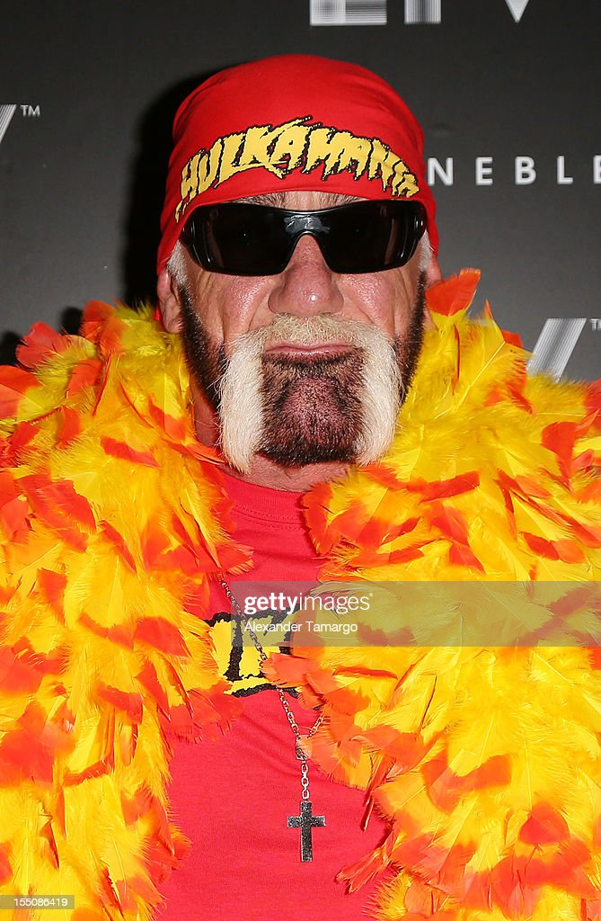 Hulk Hogan arrives at Kim Kardashian's Halloween party at LIV nightclub at Fontainebleau Miami on October 31, 2012 in Miami Beach, Florida.