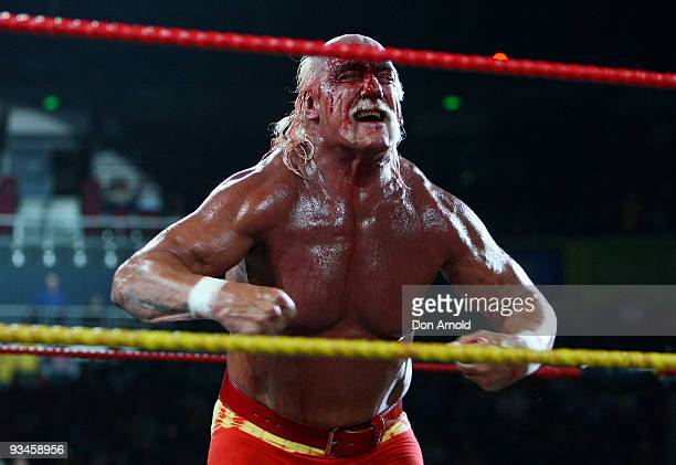 Hulk Hogan competes in the ring against Ric Flair during his 'Hulkamania Tour' at Acer Arena on November 28 2009 in Sydney Australia
