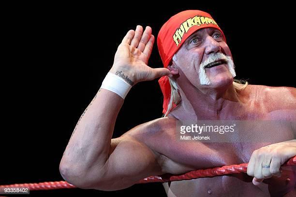 Hulk Hogan in action during his Hulkamania Tour at the Burswood Dome on November 24 2009 in Perth Australia