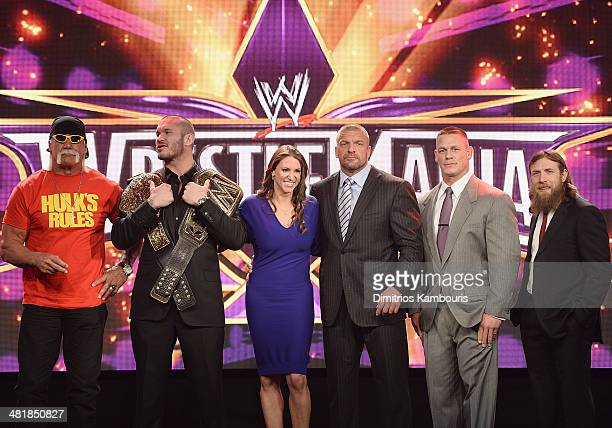 Hulk Hogan Randy Orton Stephanie McMahon Triple H John Cena and Daniel Bryan attend the WrestleMania 30 press conference at the Hard Rock Cafe New...