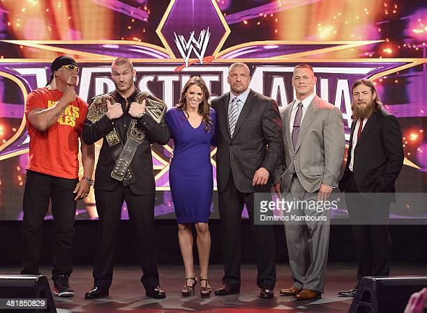 Hulk Hogan Randy Orton Stephanie McMahon Triple H John Cena and Daniel Bryan attend the WrestleMania 30 press conference at the Hard Rock Cafe New...