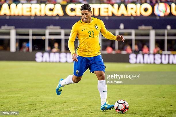 Hulk of Brazil drives the ball during a group B match between Brazil and Peru at Gillette Stadium as part of Copa America Centenario US 2016 on June...