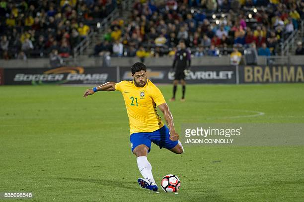 Hulk of Brazil shoots the ball on goal during an international friendly match at Dick's Sporting Goods Park in Commerce City Colorado on May 29 2016...