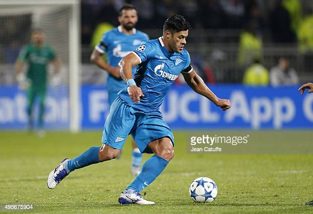 Hulk of FC Zenit in action during the UEFA Champions league match between Olympique Lyonnais and FC Zenit St Petersburg at Stade de Gerland on...