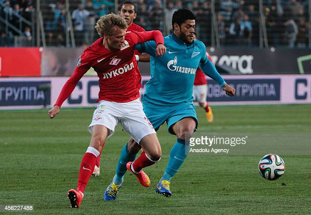 Hulk of FC Zenit Saint Petersburg vies for the ball during the Russian Premier League football match between FC Zenit Saint Petersburg and FC Spartak...