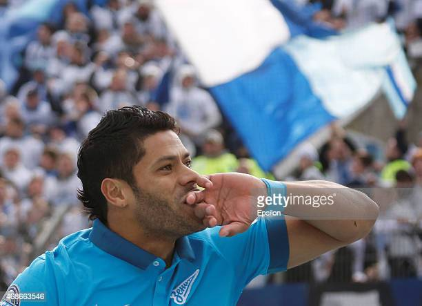 Hulk of FC Zenit St Petersburg celebrates his goal during the Russian Football League match between FC Zenit St Petersburg and PFC CSKA Moscow at the...