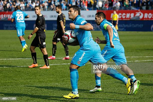 Hulk of FC Zenit St Petersburg celebrates his goal during the Russian Football League match between FC Zenit St Petersburg and FC Rubin Kazan at the...