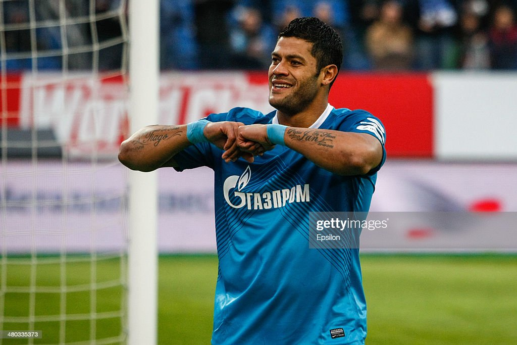 Hulk of FC Zenit St. Petersburg celebrates his goal during the Russian Football League Championship match between FC Zenit St. Petersburg and FC Krylia Sovetov Samara at the Petrovsky stadium on March 24, 2014 in St. Petersburg, Russia.