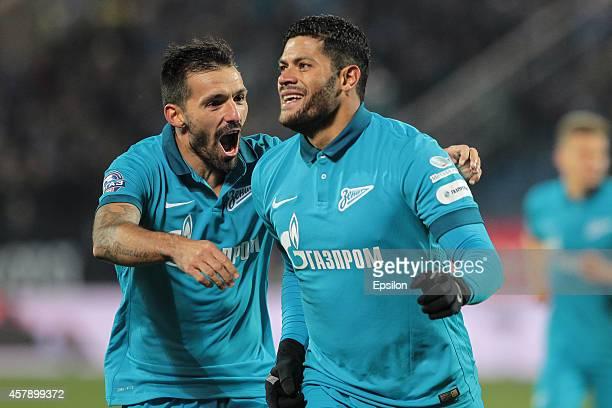 Hulk of FC Zenit St Petersburg celebrates his goal with Miguel Danny of FC Zenit St Petersburg during the Russian Football League Championship match...