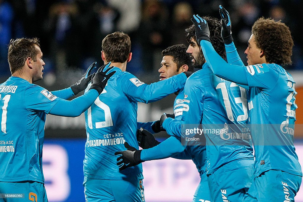 Hulk of FC Zenit St. Petersburg (C) celebrates his goal with teammates during the Russian Football League Championship match between FC Zenit St. Petersburg and FC Mordovia Saransk at the Petrovsky Stadium on March 17, 2013 in St. Petersburg, Russia.