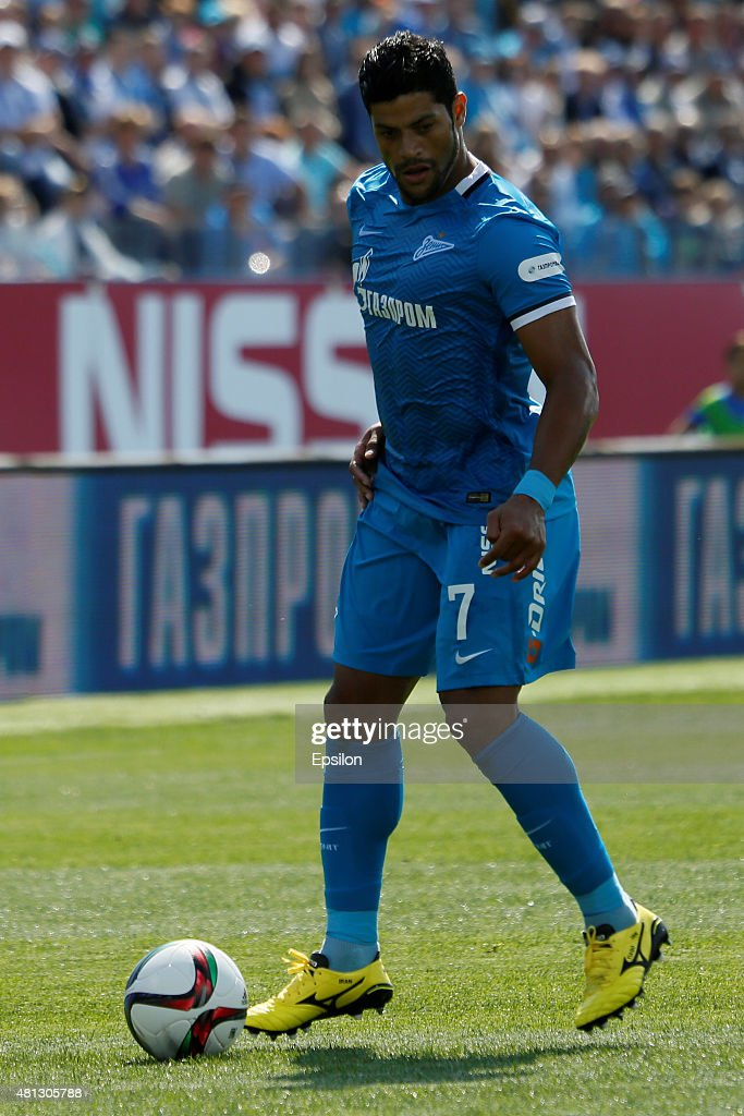 Hulk of FC Zenit St. Petersburg during the Russian Football League match between FC Zenit St. Petersburg and FC Dinamo Moscow at the Petrovsky stadium on July 19, 2015 in St. Petersburg, Russia.