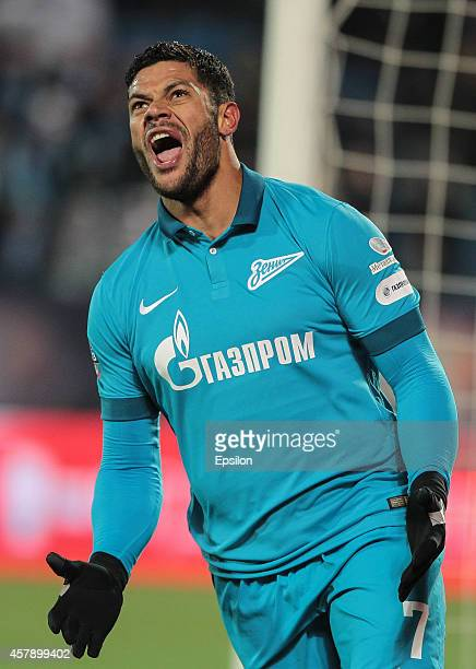 Hulk of FC Zenit St Petersburg reacts during the Russian Football League Championship match between FC Zenit St Petersburg and FC Mordovia Saransk at...