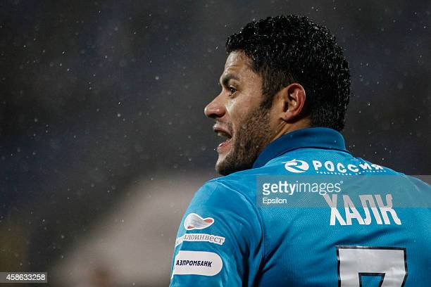Hulk of FC Zenit St Petersburg reacts during the Russian Football League Championship match between FC Zenit St Petersburg and FC Terek Grozny at the...