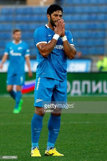Hulk of FC Zenit St Petersburg reacts during the Russian Football Premier League match between FC Zenit St Petersburg and FC Amkar Perm at the...