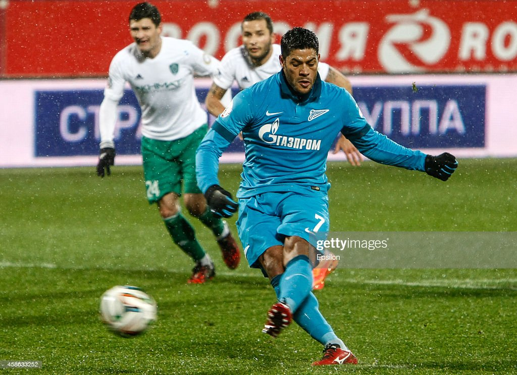 <a gi-track='captionPersonalityLinkClicked' href=/galleries/search?phrase=Hulk+-+Soccer+Player&family=editorial&specificpeople=7359350 ng-click='$event.stopPropagation()'>Hulk</a> of FC Zenit St. Petersburg (R) shoots to miss a penalty shot during the Russian Football League Championship match between FC Zenit St. Petersburg and FC Terek Grozny at the Petrovsky stadium on November 8, 2014 in St. Petersburg, Russia.