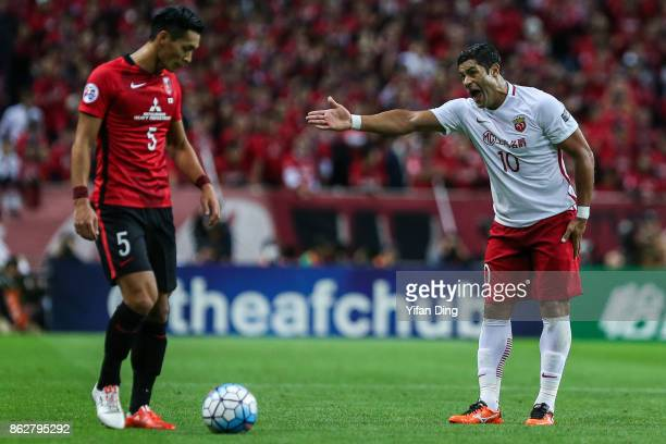 Hulk of Shanghai SIPG complains to the referee during the AFC Champions League semi final second leg match between Urawa Red Diamonds and Shanghai...