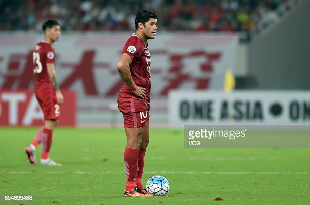 Hulk of Shanghai SIPG controls the ball during 2017 AFC Champions League semifinal first leg match between Shanghai SIPG and Urawa Red Diamonds at...