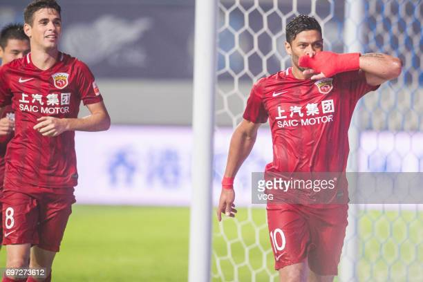 Hulk of Shanghai SIPG reacts during the 13th round match of 2017 Chinese Football Association Super League between Guangzhou Fuli and Shanghai SIPG...