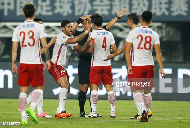 Hulk of Shanghai SIPG speaks with the referee during the 21st round match of 2017 China Super League between Hebei China Fortune FC and Shanghai SIPG...
