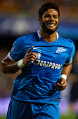 Hulk of Zenit celebrates scoring his team's first goal during the UEFA Champions League Group H match between Valencia CF and FC Zenit at the Estadi...