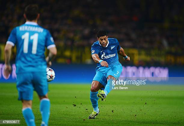 Hulk of Zenit shoots to score the opening goal during the UEFA Champions League round of 16 second leg match between Borussia Dortmund and FC Zenit...