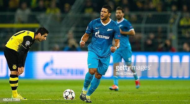 Hulk of Zenit St Petersburg celebrates scoring the opening goal during the UEFA Champions League round of 16 second leg match between Borussia...