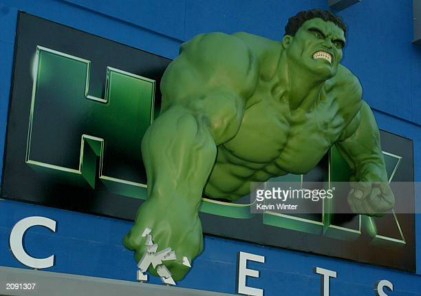 Hulk statuette above the box office for the world premiere of the movie 'The Hulk' at Universal Studios on June 17 2003 in Universal City California
