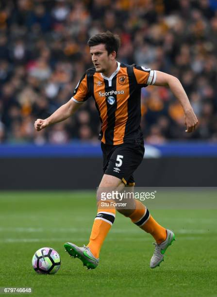 Hull captain Harry Maguire in action during the Premier League match between Hull City and Sunderland at KCOM Stadium on May 6 2017 in Hull England