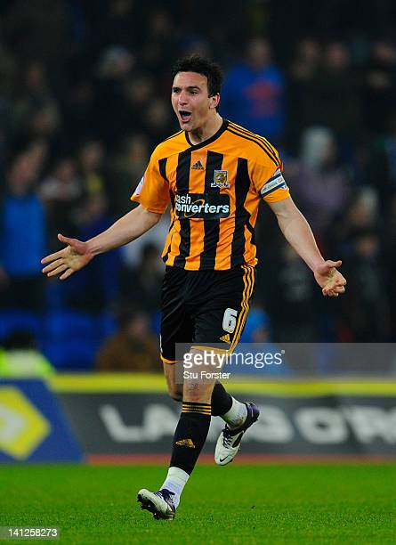 Hull captain Jack Hobbs celebrates a goal during the npower Championship match between Cardiff City and Hull City at Cardiff City stadium on March 13...