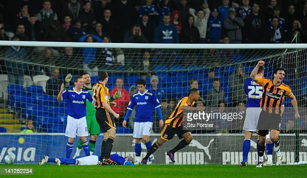 Hull captain Jack Hobbs celebrates after an own goal had put Hull ahead during the npower Championship match between Cardiff City and Hull City at...