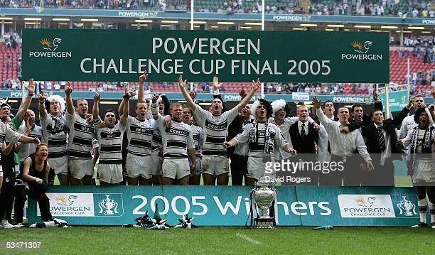 Hull celebrate their win after the Powergen Challenge Cup Final between Hull FC and Leeds Rhinos at the Millennium Stadium on August 27 2005 in...
