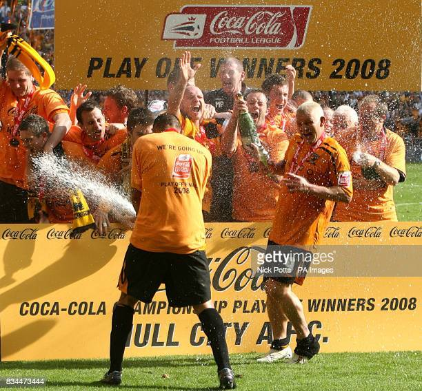 Hull City celebrate winning the Championship play offs