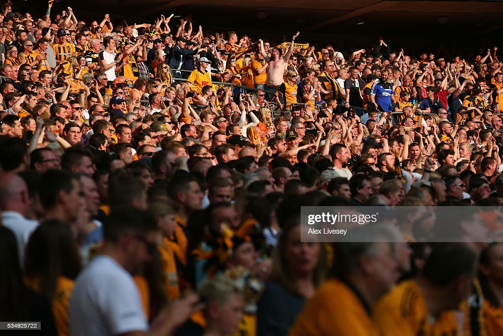 Hull City fans support their team during Sky Bet Championship Play Off Final match between Hull City and Sheffield Wednesday at Wembley Stadium on May 28, 2016 in London, England.