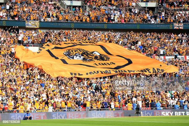 Hull City fans unfurl a giant banner in the stands at Wembley Stadium