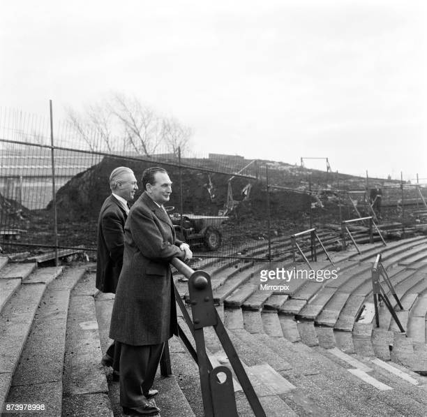 Hull City football club Mr Cliff Britten the Club Manager with his Chairman of Directors Mr Harold Needler inspecting the foundation work for a new...