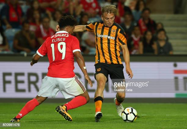 Hull City forward Jarrod Bowen with Benfica's defender Eliseu from Portugal in action during the Algarve Cup match between SL Benfica and Hull City...