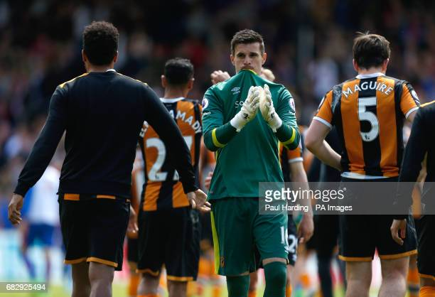 Hull City goalkeeper Eldin Jakupovic reacts after the Premier League match at Selhurst Park London