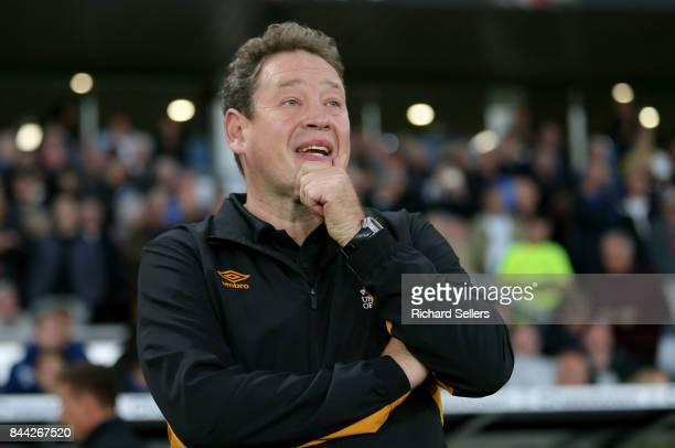 Hull City Head coach Leonid Slutsky during the Sky Bet Championship match between Derby County and Hull City at the Derby County's Pride Park stadium...