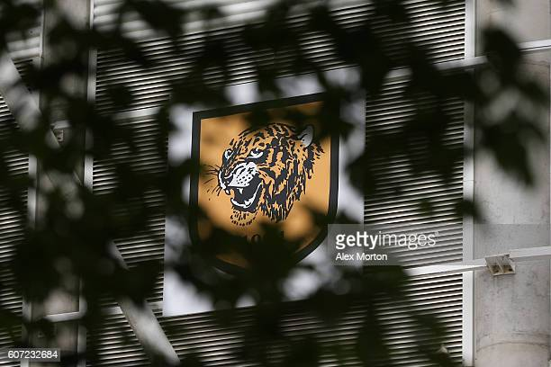 Hull City logo on the stadium during the Premier League match between Hull City and Arsenal at KCOM Stadium on September 17 2016 in Hull England