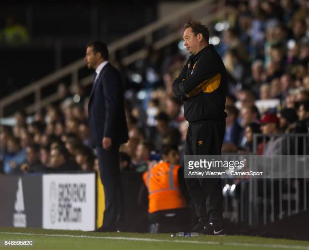 Hull City manager Leonid Slutsky during the Sky Bet Championship match between Fulham and Hull City at Craven Cottage on September 13 2017 in London...