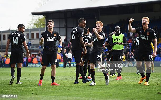 Hull City players celebrate in front of fans during the Barclays Premier League match between Crystal Palace and Hull City at Selhurst Park on April...
