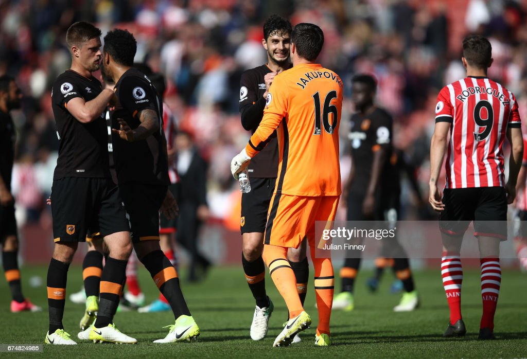 Hull City players celebrate with Eldin Jakupovic of Hull City after the full timw whistle during the Premier League match between Southampton and Hull City at St Mary's Stadium on April 29, 2017 in Southampton, England.
