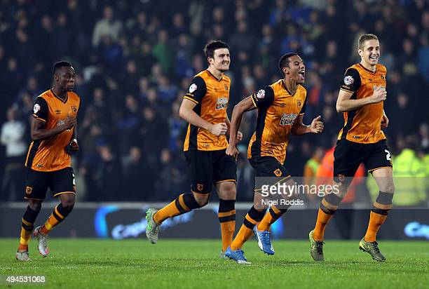 Hull City players react after a penalty shoot out win during the Capital One Cup Fourth Round match between Hull City and Leicester City at KC...