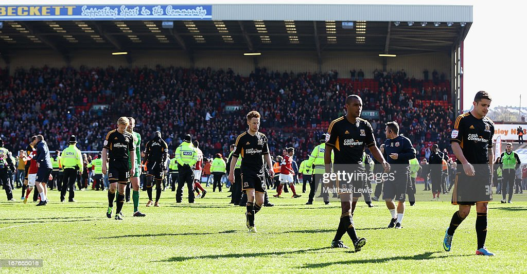 Hull City players walk of after the npower Championship match between Barnsley and Hull City at Oakwell Stadium on April 27, 2013 in Barnsley, England.