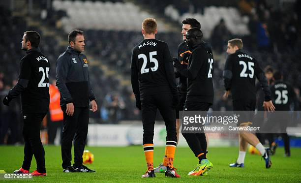Hull City players wearing tops in support of Ryan Mason who suffered a fractured skull on the weekend during the EFL Cup SemiFinal Second Leg match...